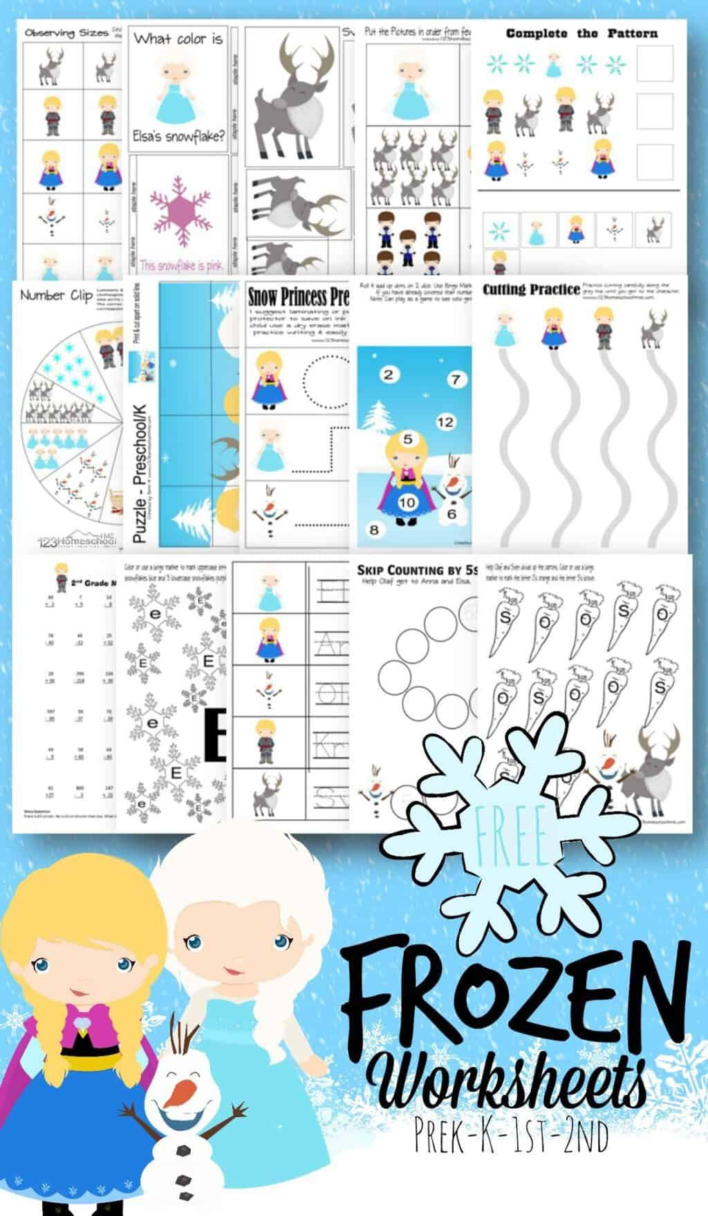 Free Frozen Worksheets For Kids In