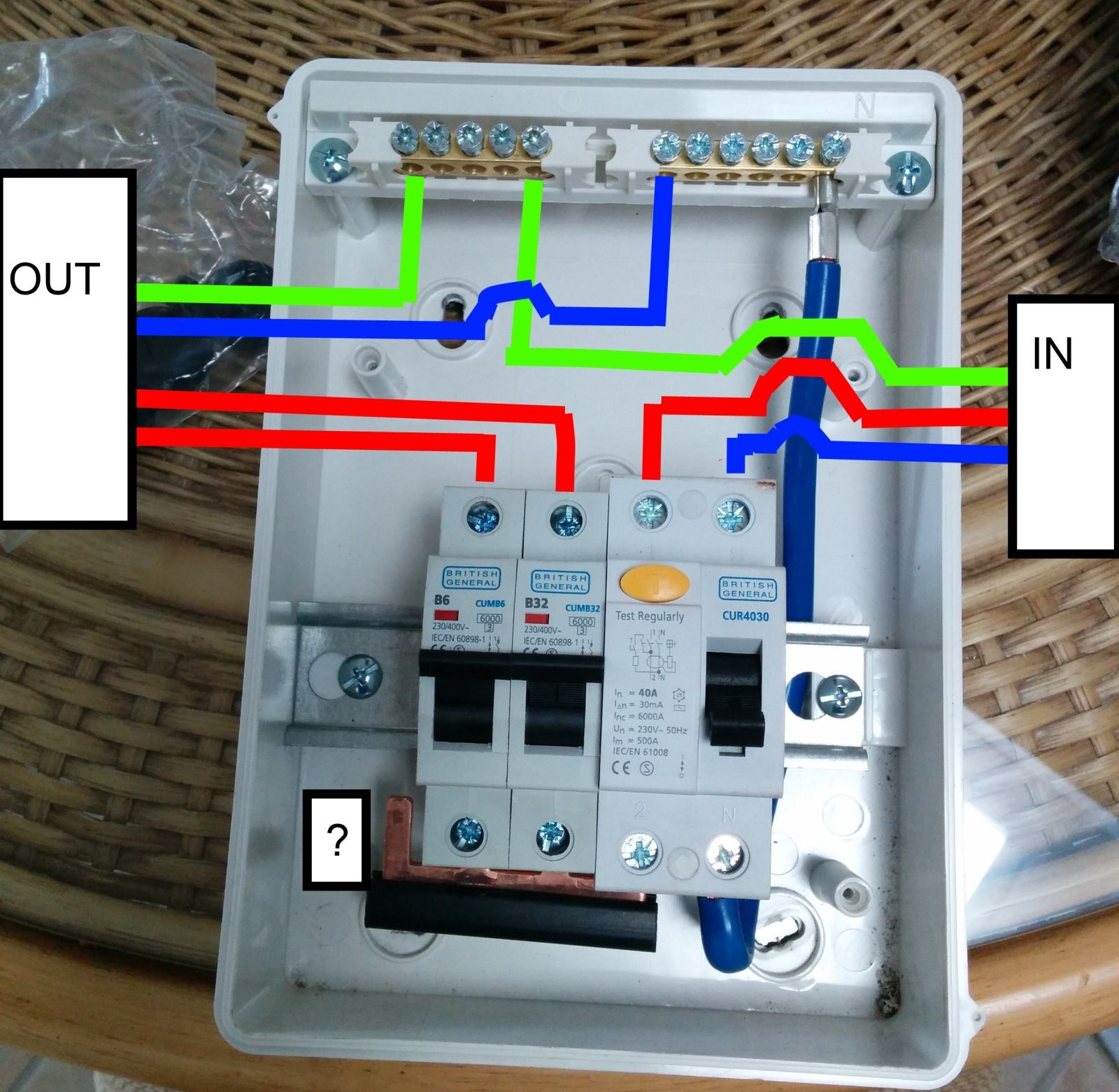 Wiring a Garage consumer unit.