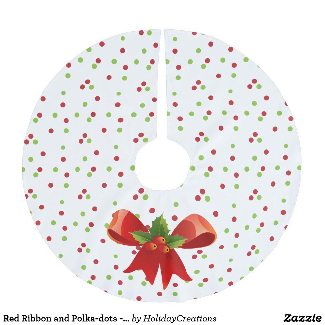 Red Ribbon and Polka-dots - Christmas Tree Skirt #christmasdecor #treeskirts #polkadots ...