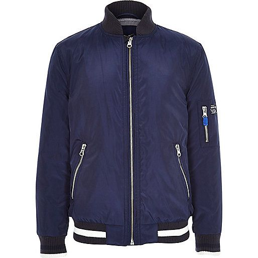 Boys navy nylon bomber jacket - jackets - coats / jackets - boys ...