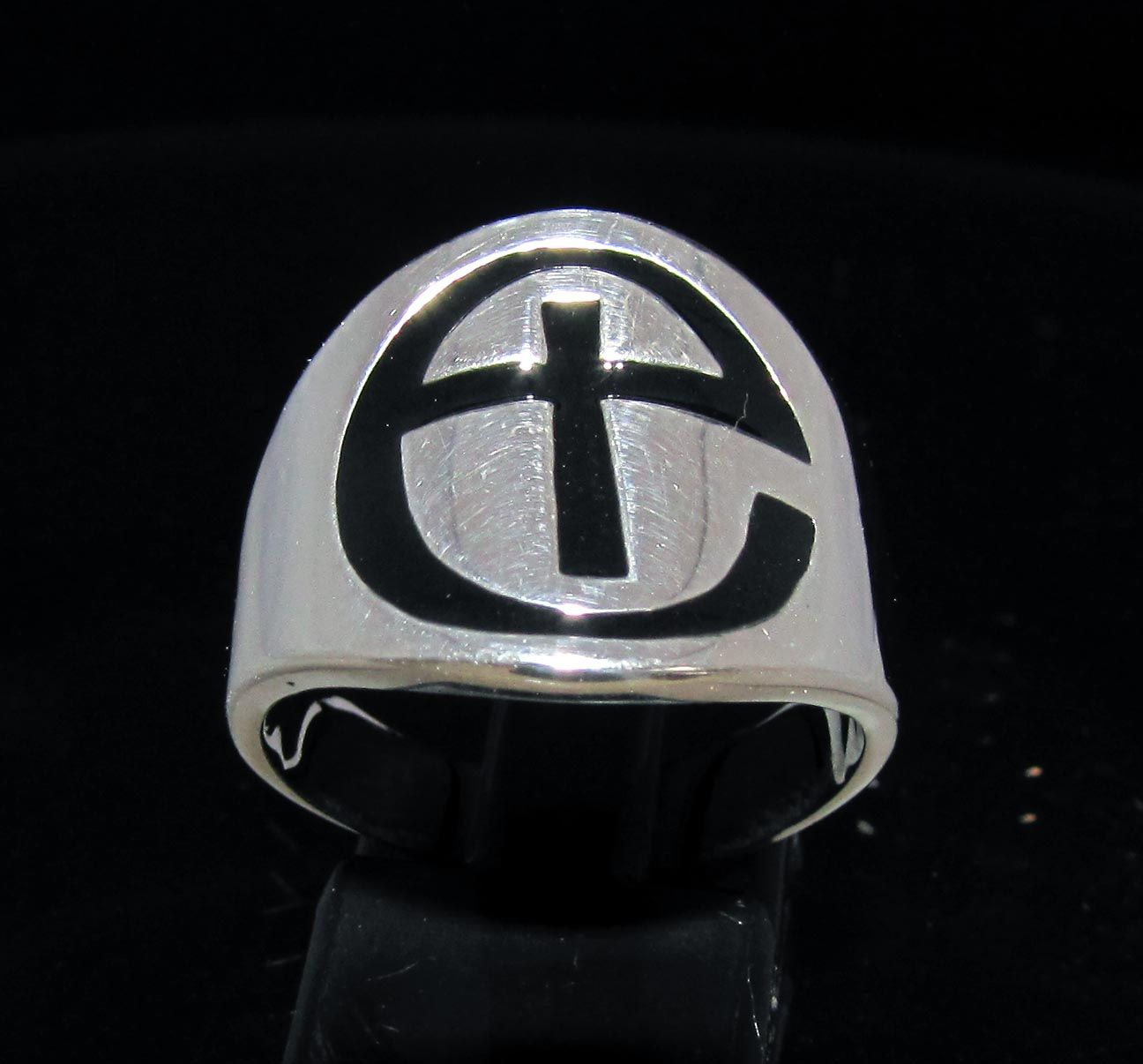 Sterling silver religious symbol ring IHS Christ monogram Three Nail Cross with Black enamel high polished 925 silver