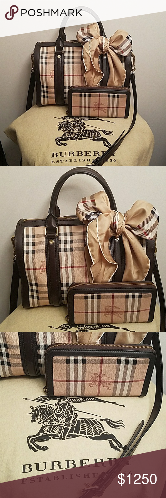 b49f0d0ca9a Med Burberry Haymarket Alchester Bowling Bag Set Stunning blend of dark brown  leather, Haymarket coated canvas make this Burberry Medium Bowling . for  your ...