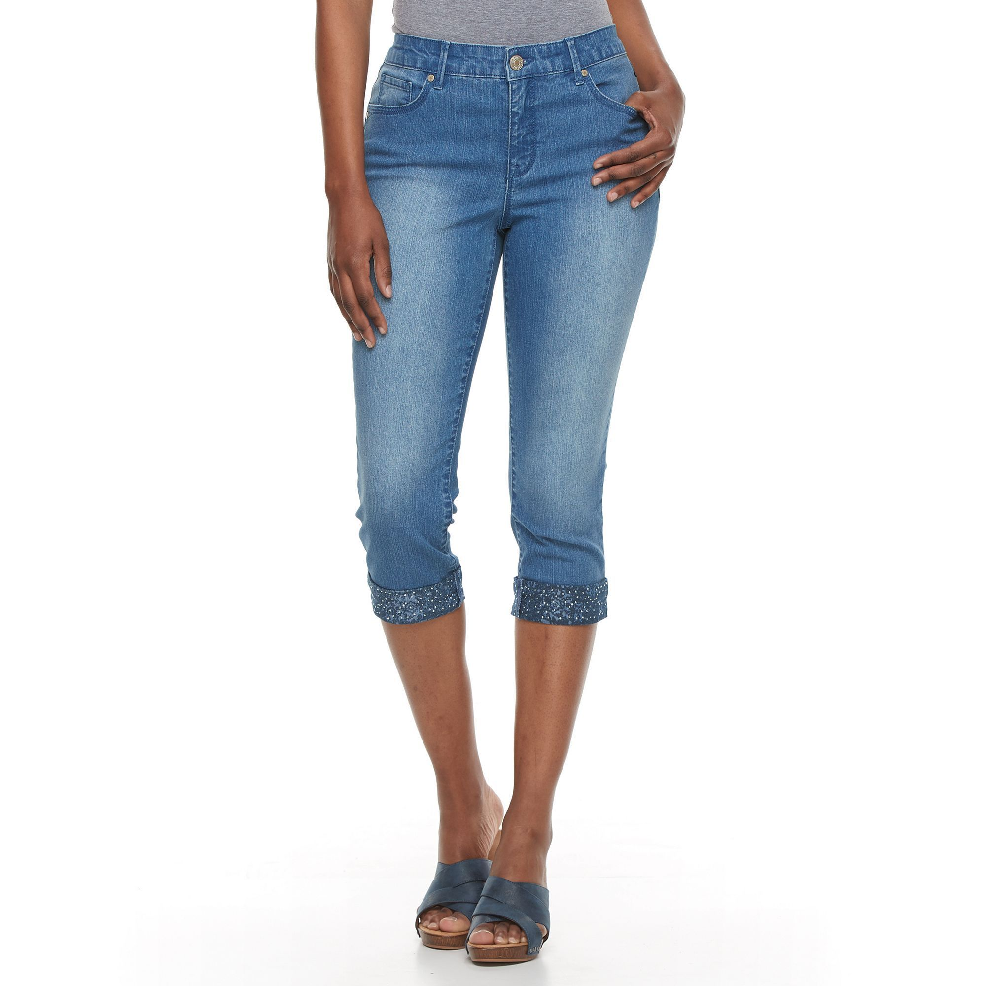 be14dd282c9 Women's Gloria Vanderbilt Jordyn Embellished Capri Jeans, Size: 12, Blue