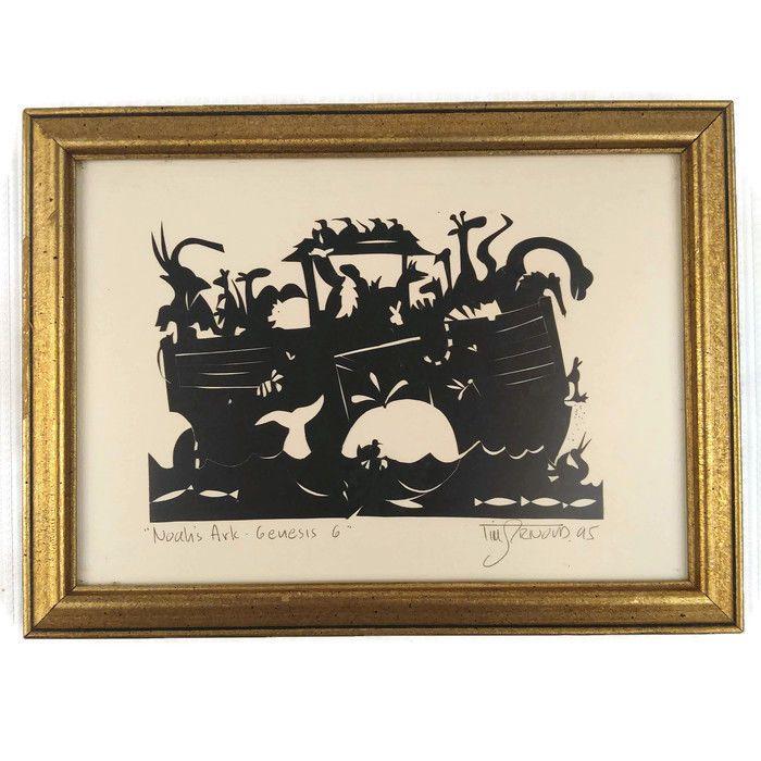 Noahs Ark Genesis Silhouette Artwork Framed Picture Tim