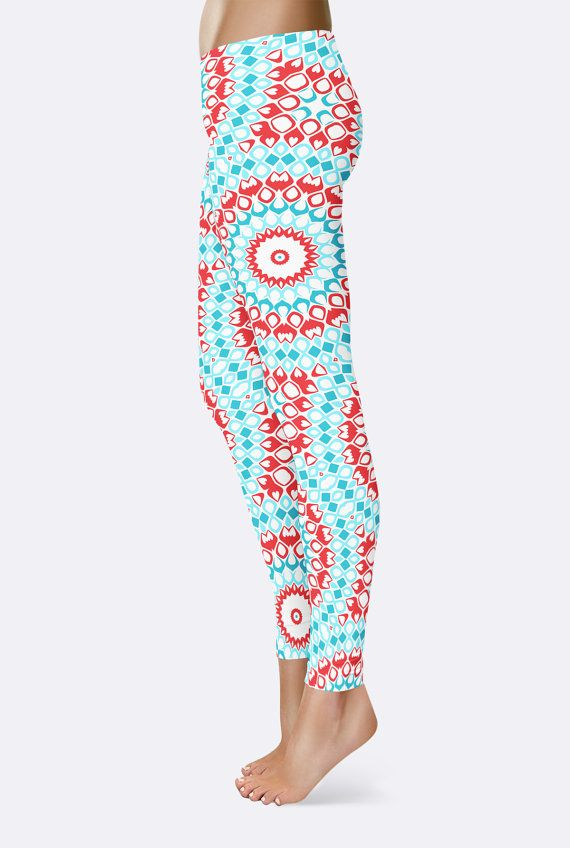turquoise blue and red printed mandala art pants gypsy boho pattern tights these handmade leggings are made from fabric printed with my own original