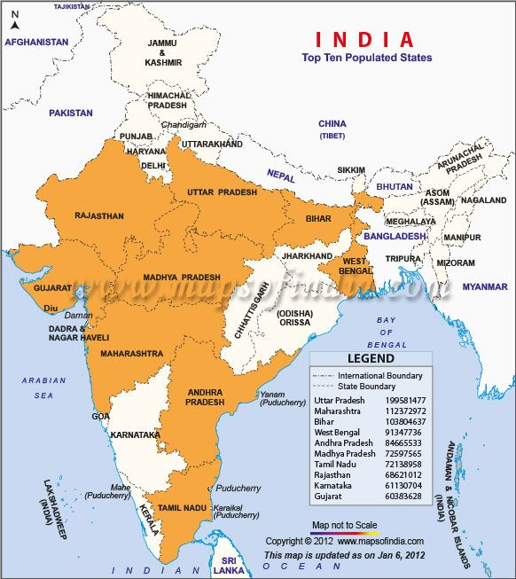 Top10populatedstatesmap 582×653 States In India
