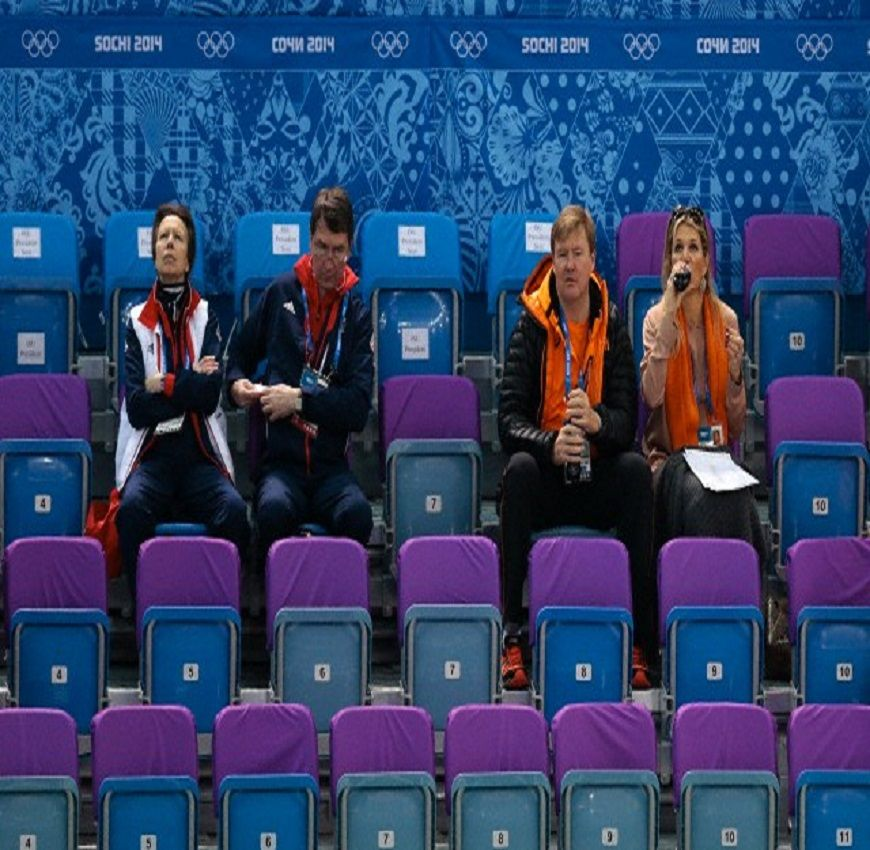 (L-R) Britain's Princess Anne, Vice Admiral Sir Timothy Laurence, Dutch King Willem-Alexander, and Queen Maxima  watch the men's 1500m short track speedskating heats at the Iceberg Skating Palace during the 2014 Winter Olympics, 10 Feb 2014, in Sochi, Russia.