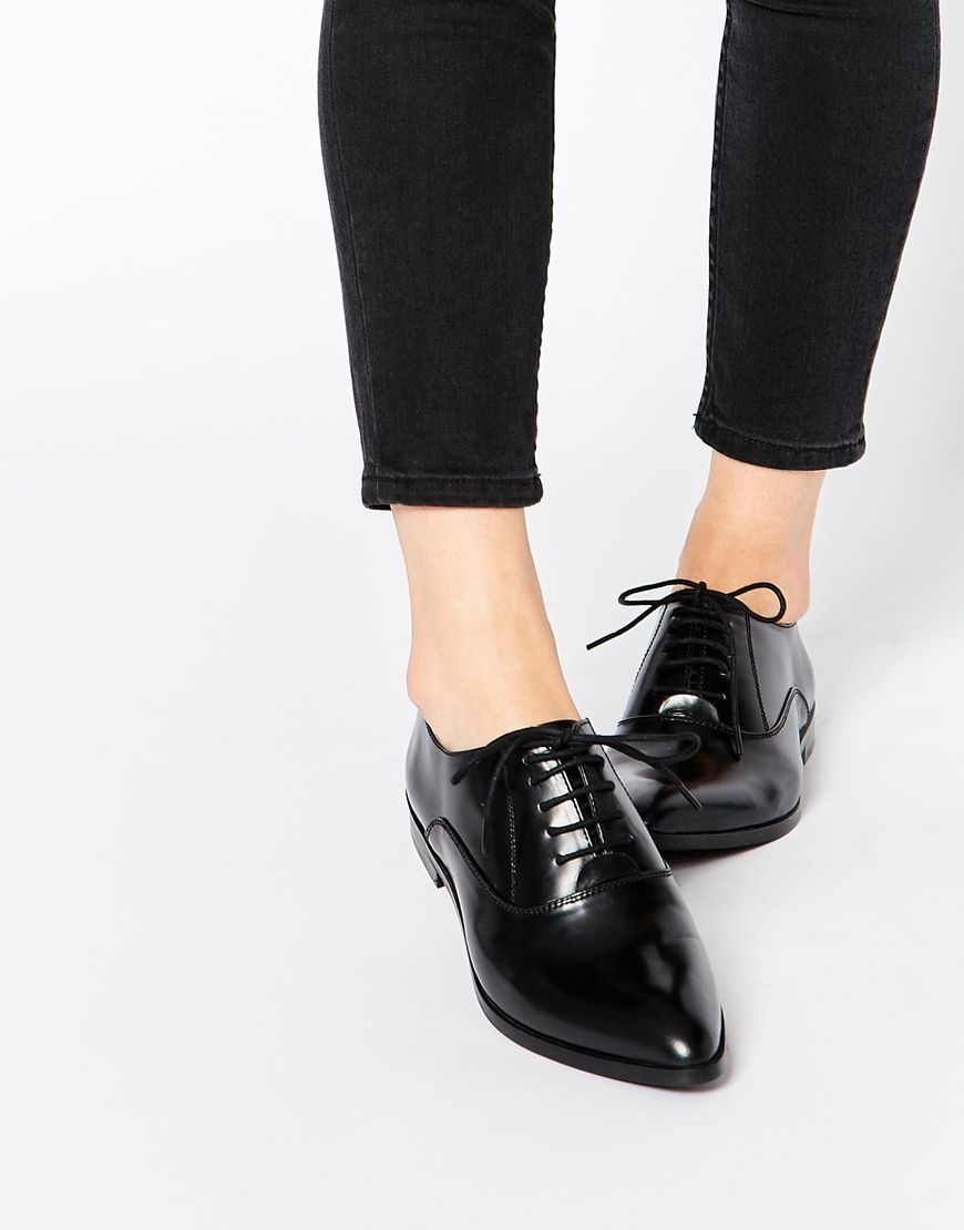 Image 1 of Park Lane Point Lace Up Leather Flat Shoes