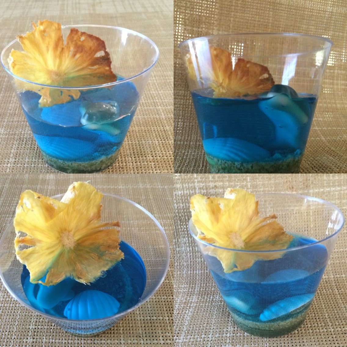 Underwater Ocean Jello Dessert. Mermaid Treats. Pineapple. Chocolate. Gummy shark.