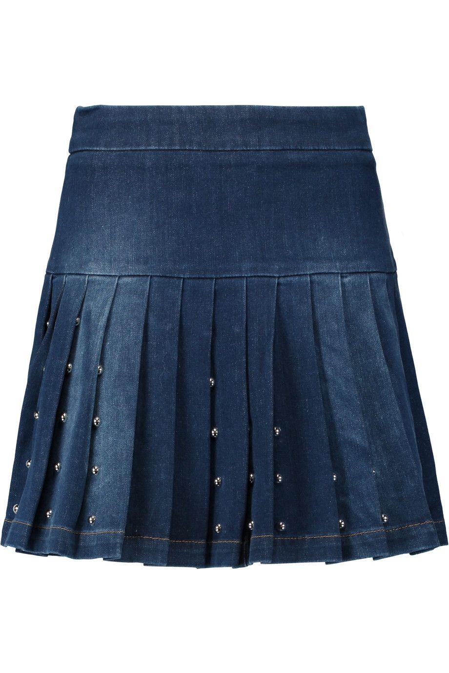 c4060a03f MCQ BY ALEXANDER MCQUEEN Pleated studded stretch-denim mini skirt.  #mcqbyalexandermcqueen #cloth #skirt