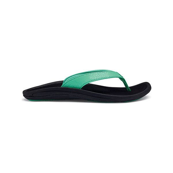 Women's OluKai Kulapa Kai Flip Flop - Pale Jade/Black Synthetic Casual (78  CAD) ❤ liked on Polyvore featuring shoes, sandals, flip flops, casual, ...