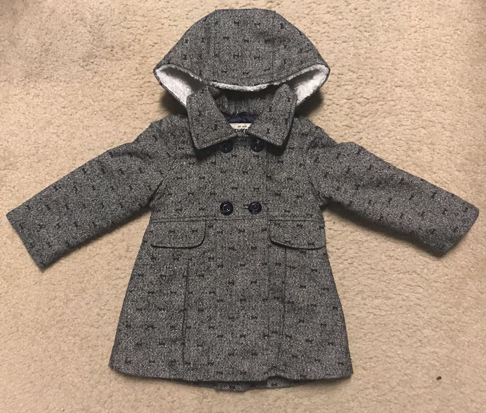 602f47805 Oshkosh Gray Bow Glitter Winter Peacoat Coat Long Jacket Toddler ...
