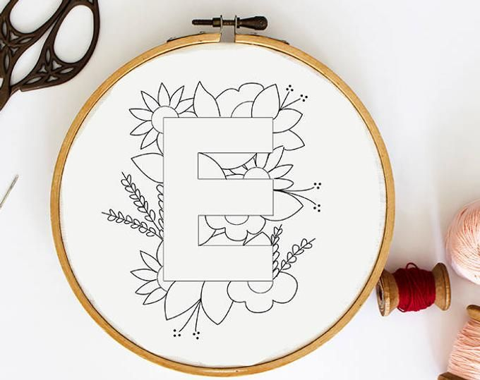 Letter K Embroidery Pattern, Floral Embroidery Pattern, PDF Embroidery Pattern, Initials Embroidery Pattern, Embroidery Design PDF Download