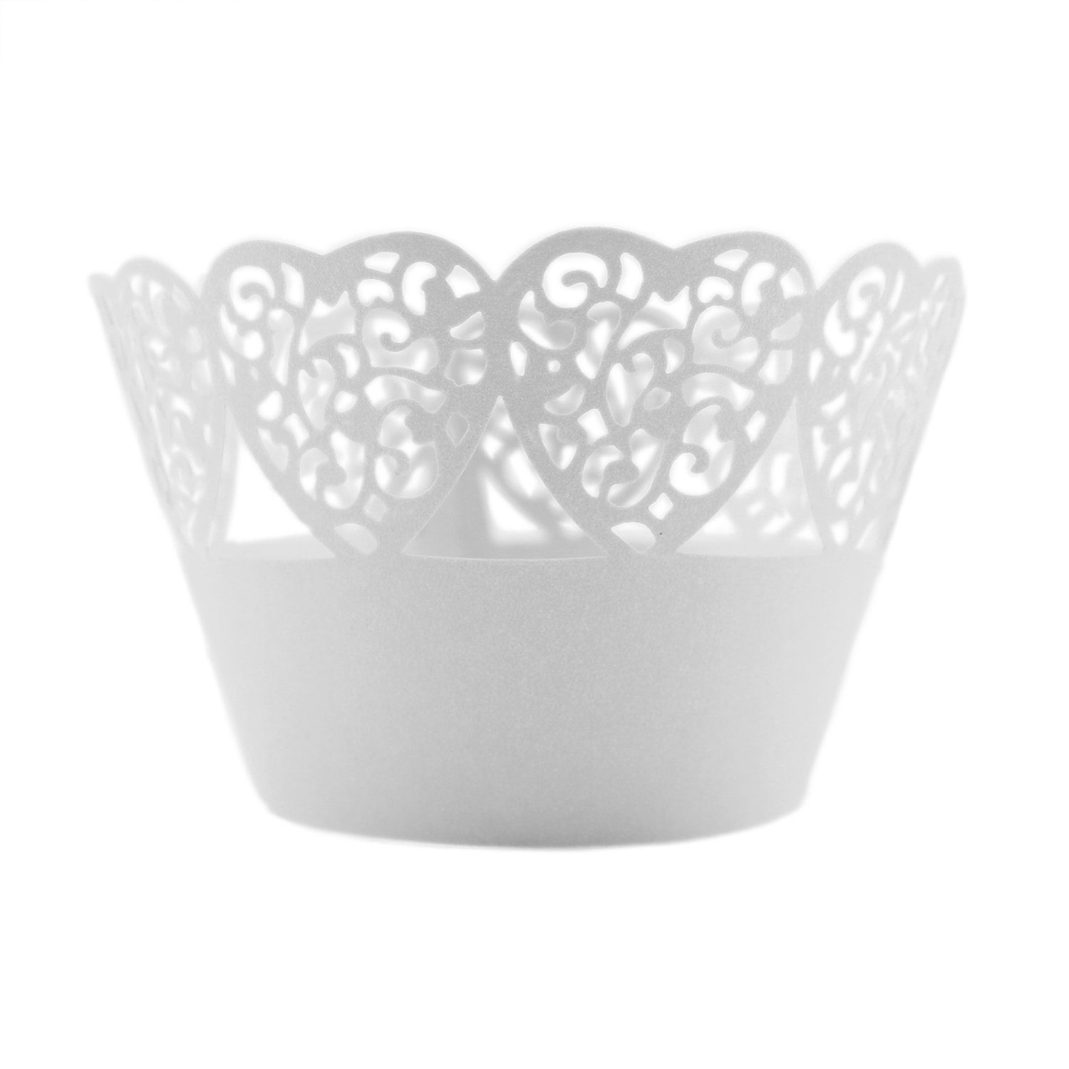 White Heart Lace Laser Cut Cupcake Wrappers Liners Baking Supplies Bakery Materials Party Decoration Valentine's Day Ideas FREE SHIPPING