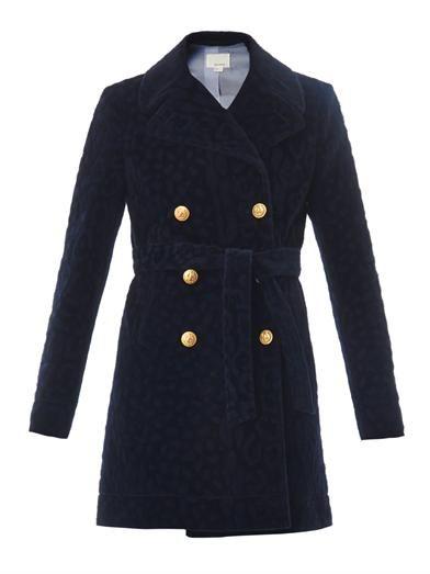 Furry tonal-leopard pea coat | Band Of Outsiders | MATCHESFASH...