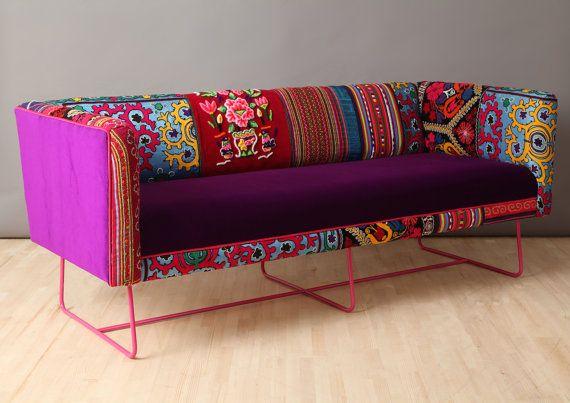 Suzani caja n de sofá rosa púrpura por namedesignstudio en Etsy
