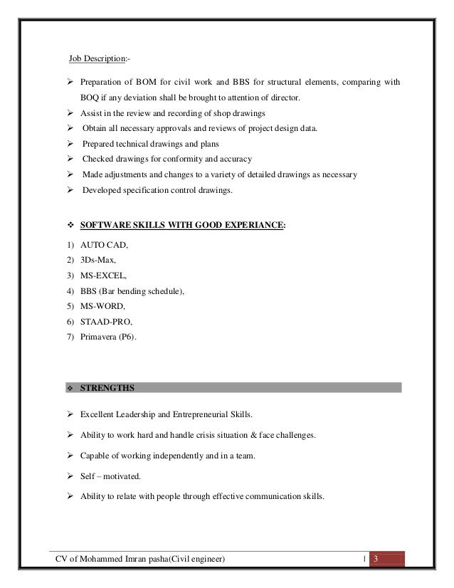 CV of Mohammed Imran Pasha ( Civil Site Engineer Cum QS) resume
