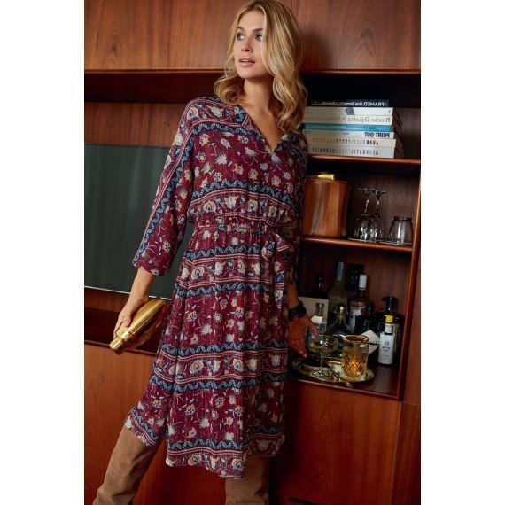 Kleid, Midi-Länge, bedruckt, tailliert   Kleid mit ärmel ...
