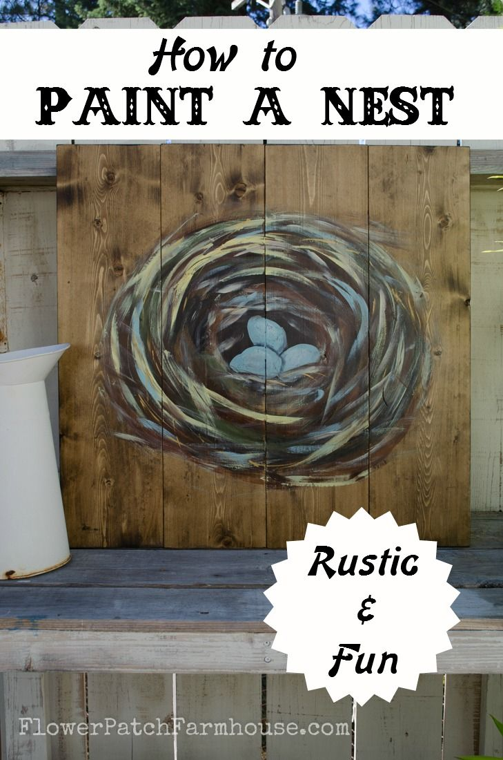 Diy How To Paint A Bird S Nest On Wood Painting Spring