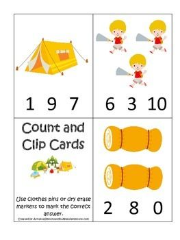 Camping Themed Count And Clip Math Cards Preschool Early Activity