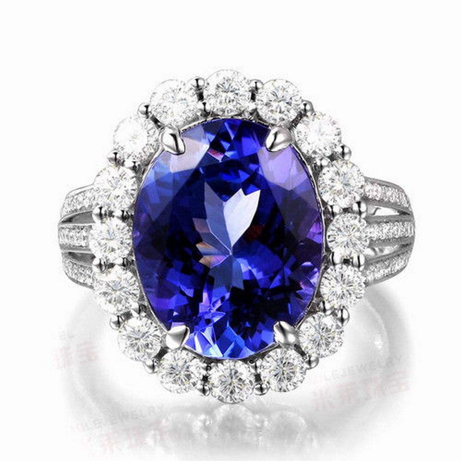 CERTIFIED 3 25CT OVAL BLUE DIAMOND ENGAGEMENT & WEDDING RING 14KT