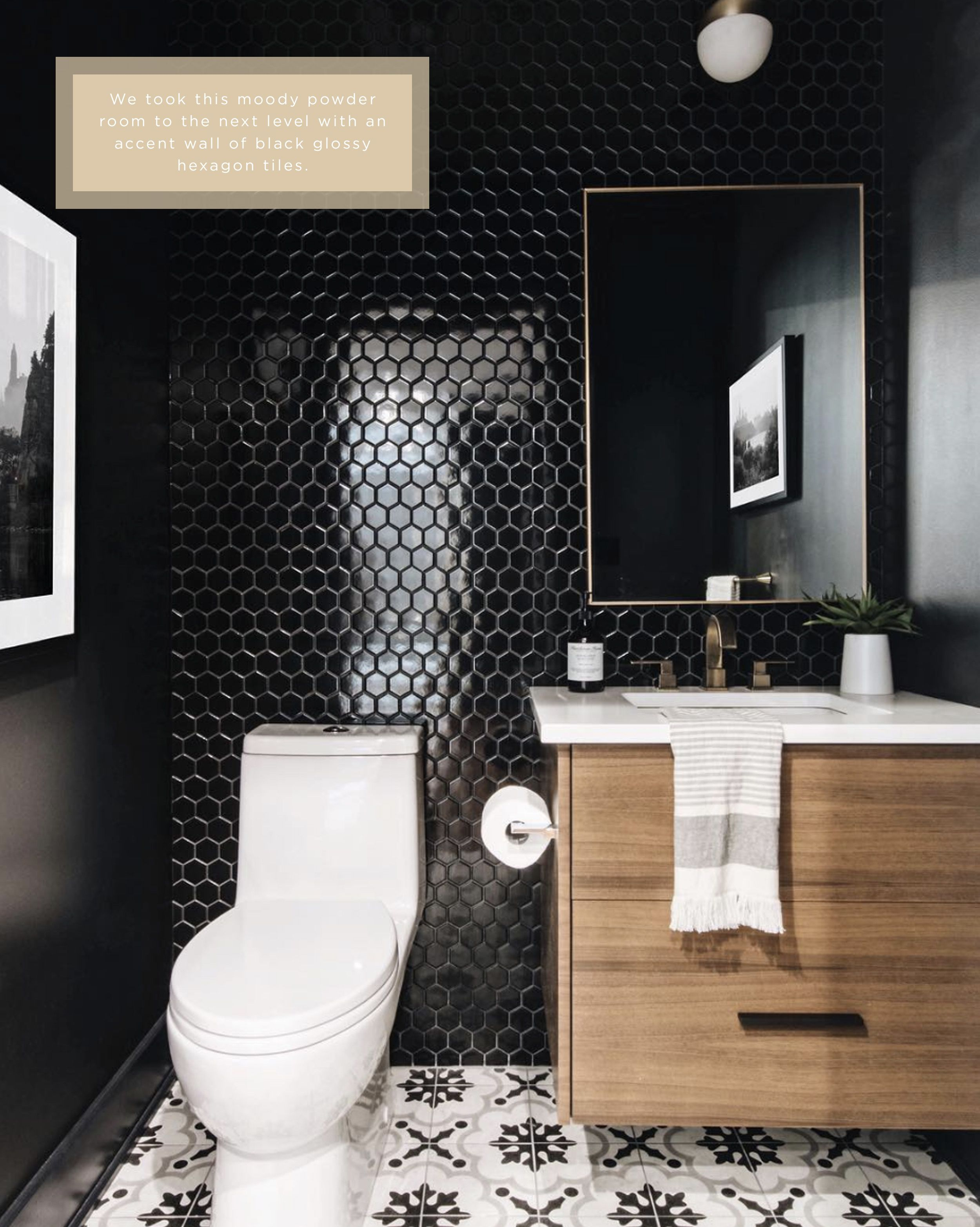 Statement Powder Room With Accent Wall Of Glossy Black Hexagon Tiles By Ottawa Interior Design Firm Le Modern Powder Rooms Black Powder Room Black Hexagon Tile