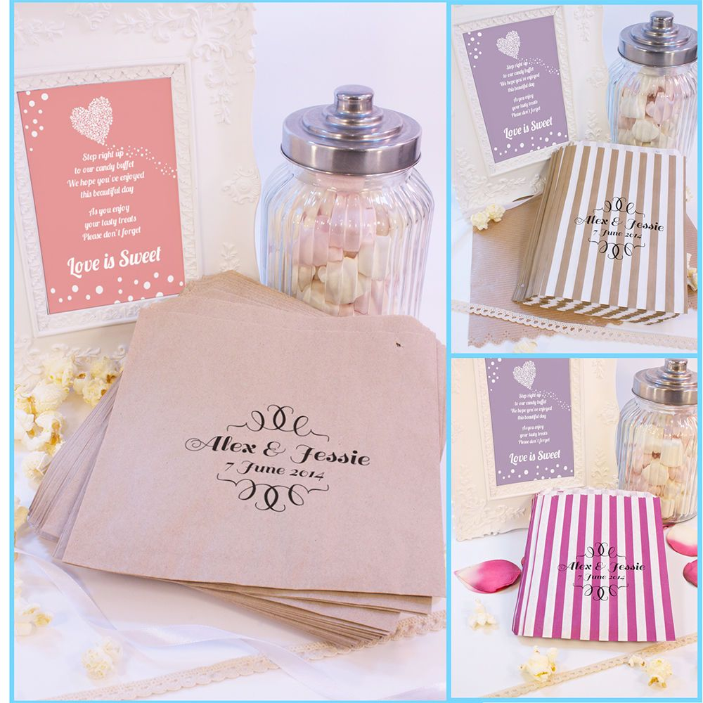Personalised Sweet Bags Curly Border Thin Candy Cart Wedding Favours Confetti En
