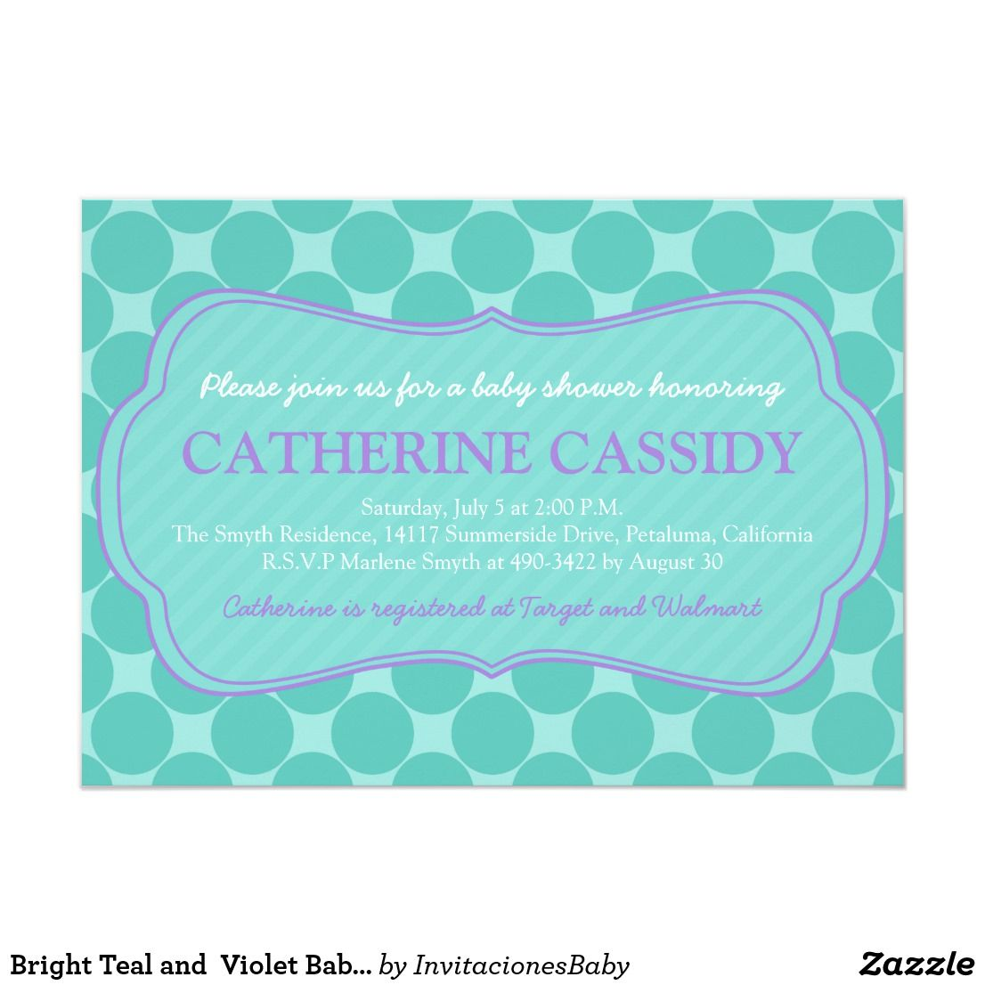 Bright teal and violet baby shower invitation bright teal