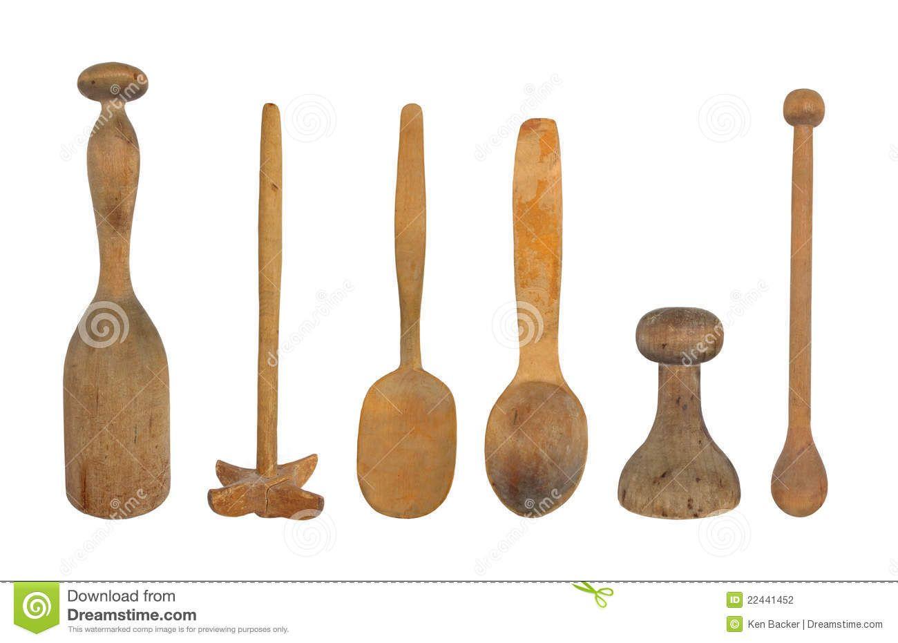 Five vintage wooden kitchen utensils including a potato masher ...