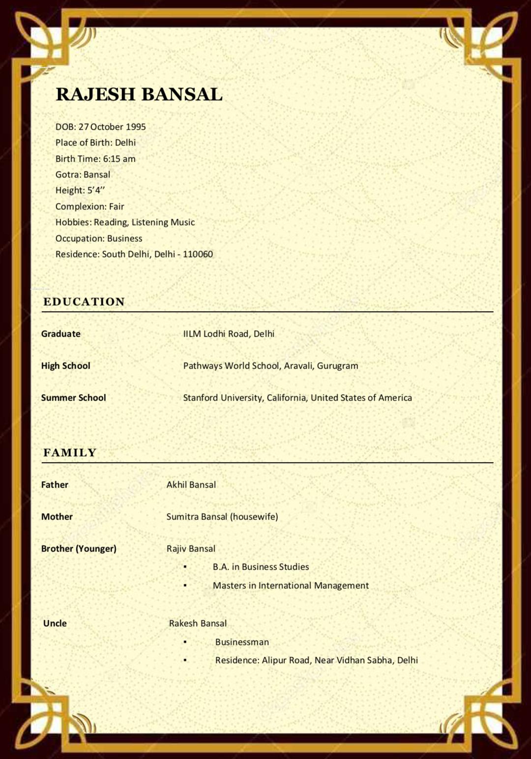 Matrimonial Biodata Create your own marriage biodata on