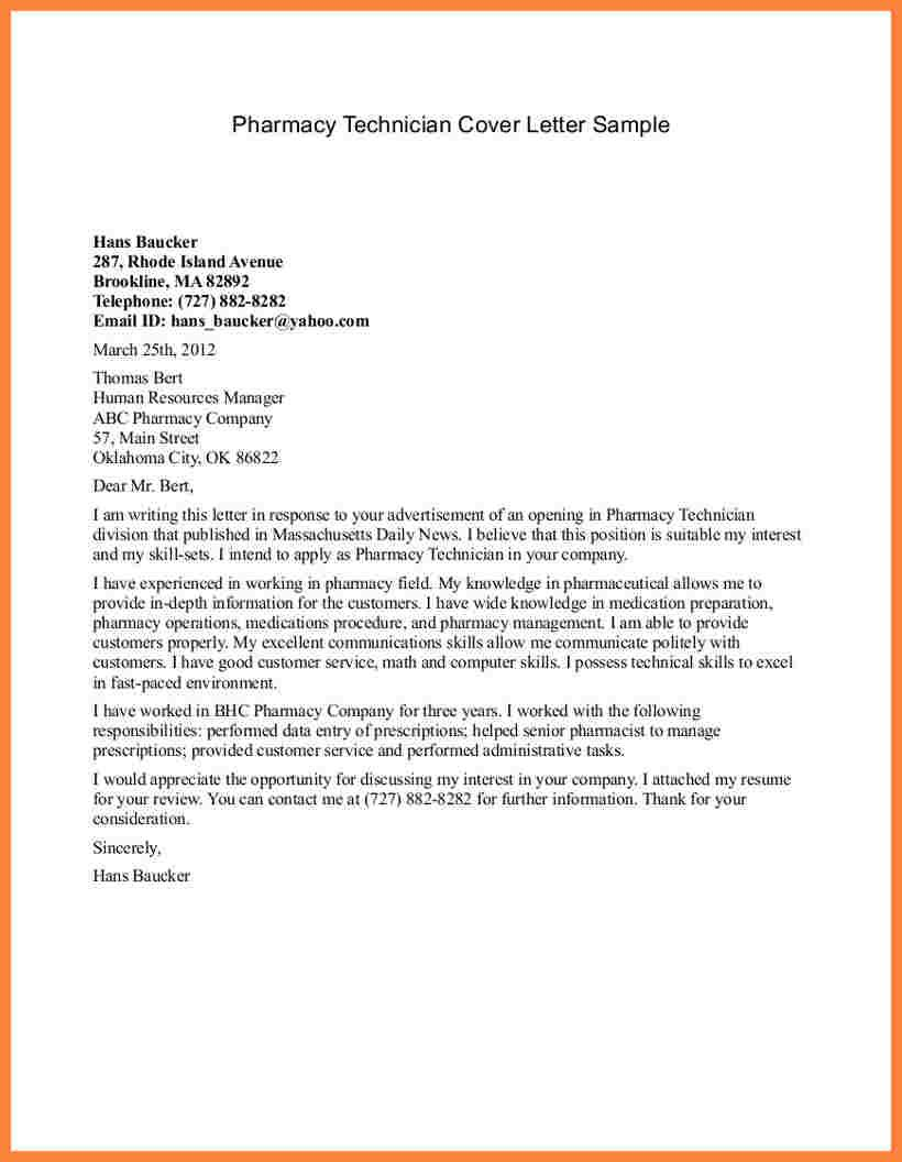 Letter For Pharmacy Assistant Armacy Tech Cover Sample Clinical