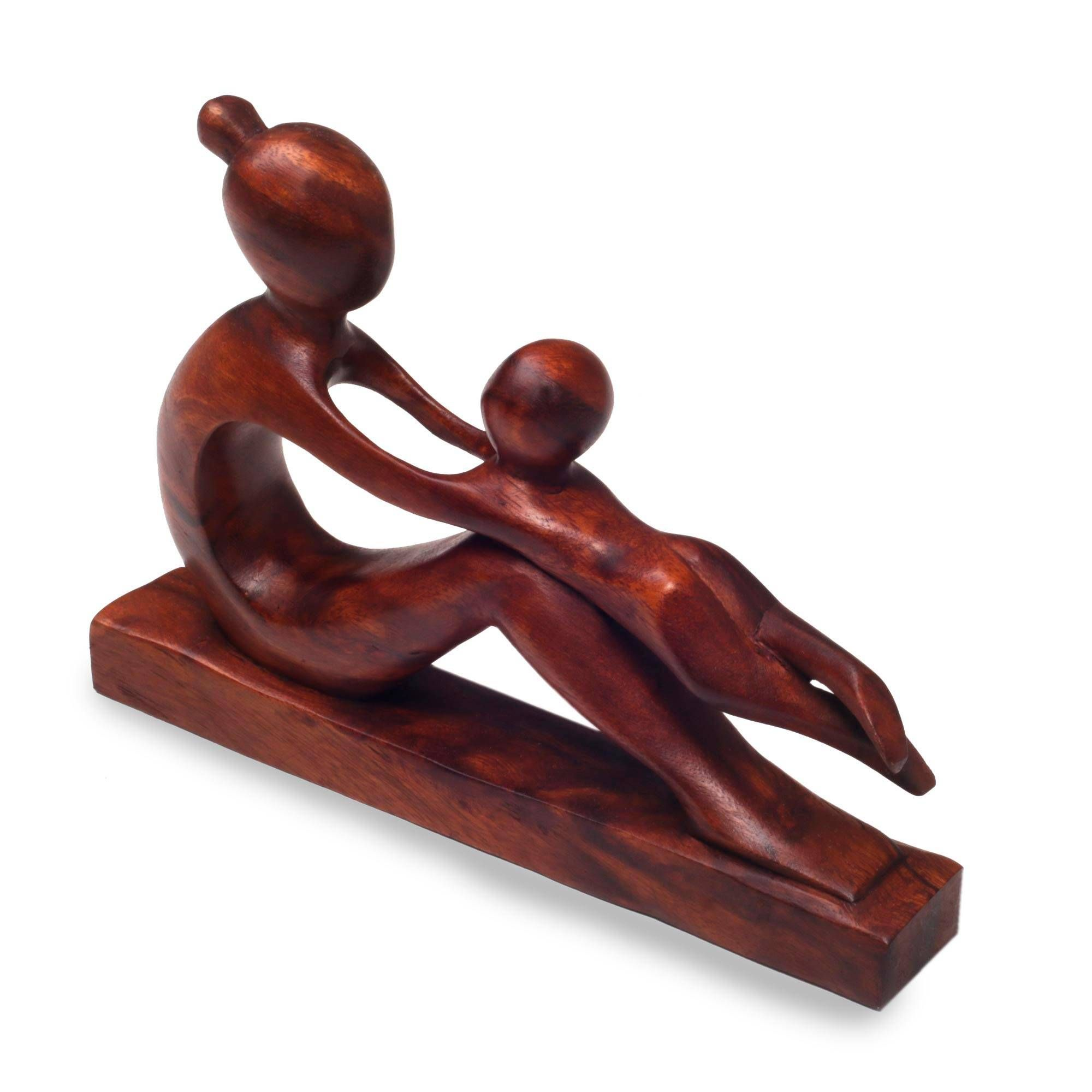 54773ce89 Unicef UK Market | Hand-Carved Suar Wood Mother and Child Sculpture - A  Playful Moment