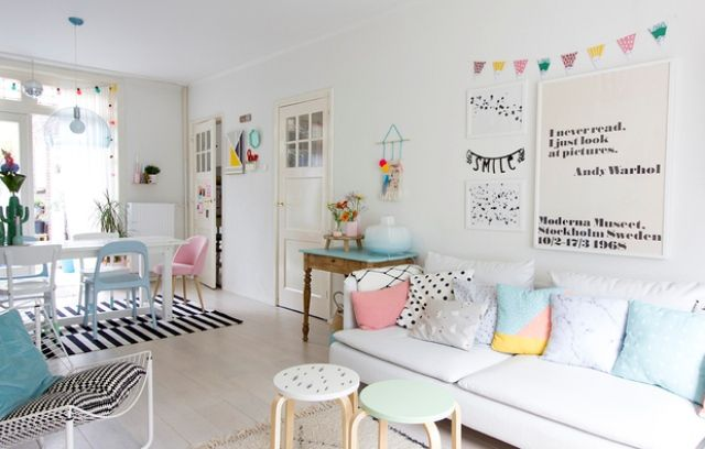 Pastel touches make the room cozier comfier and more inviting