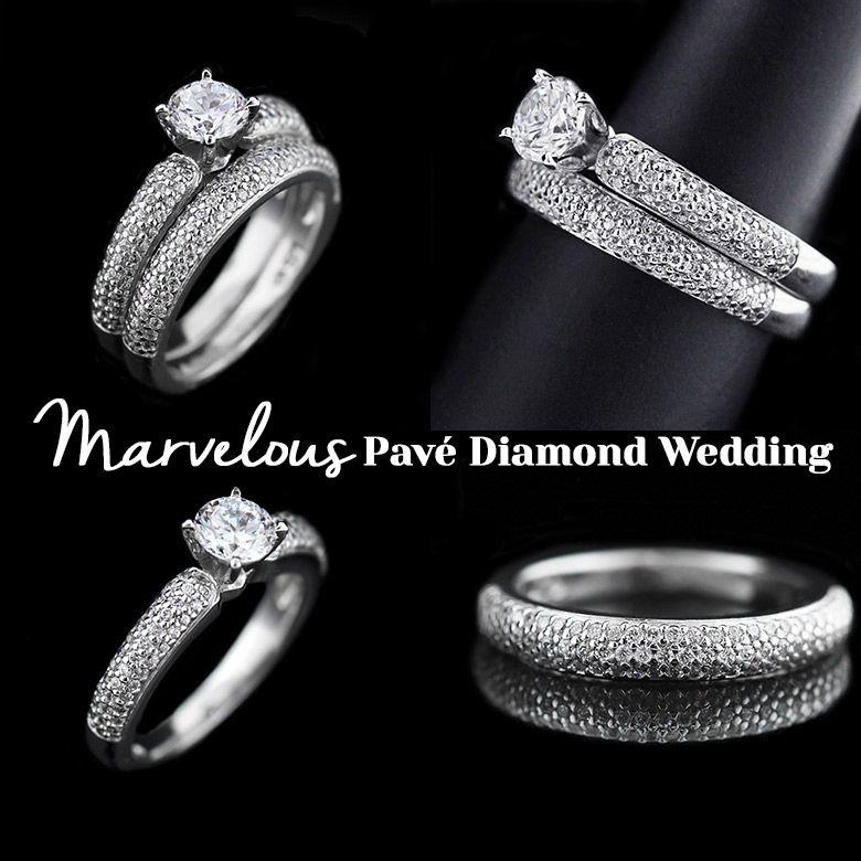 Marvelous Pavé Diamond Wedding Ring Set Miadonna New Arrivals