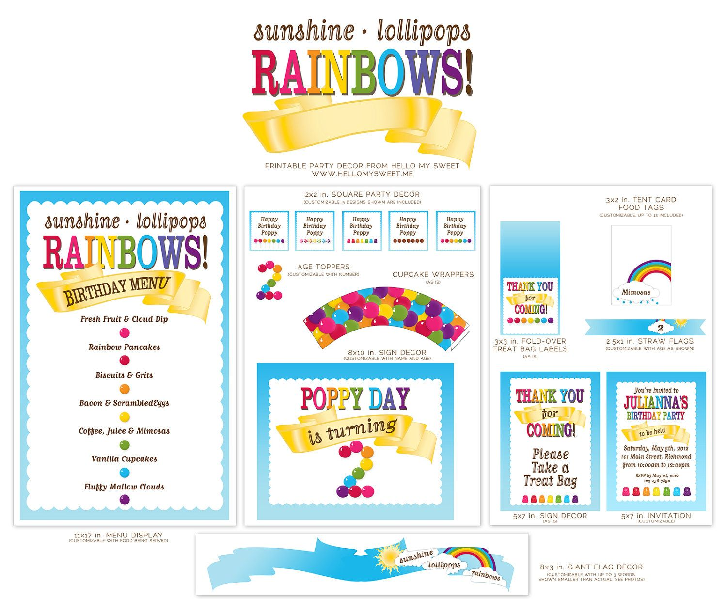 Rainbows Amp Candy Land Printable Birthday Party By