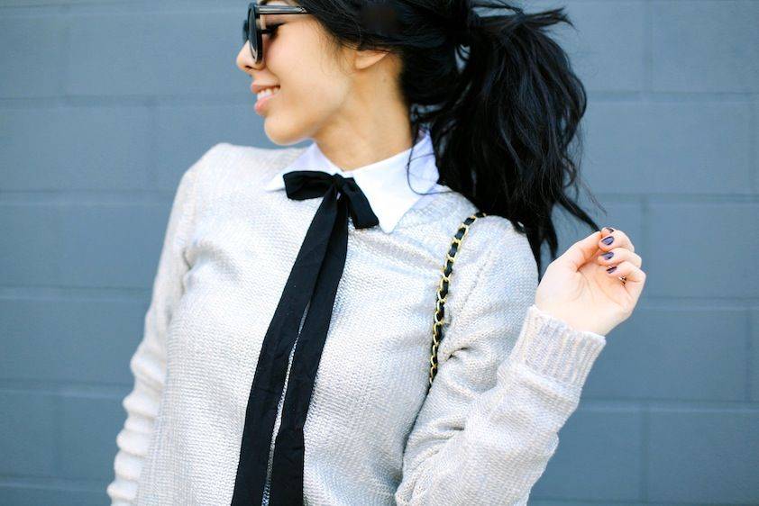 Bow tie and metallic sweater