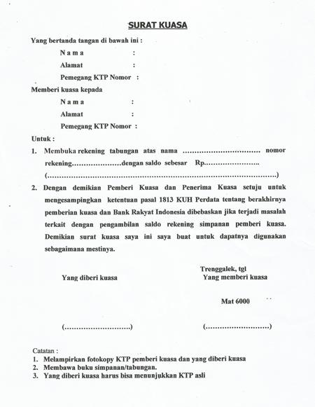 Format Surat Kuasa Pengambilan Tabungan Bri Document Pinterest