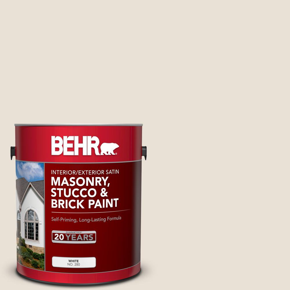 Behr 1 Gal 73 Off White Satin Interior Exterior Masonry Stucco And Brick Paint 28001 The Home Depot Masonry Brick Interior Interior And Exterior