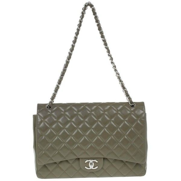 Chanel Olive Green Caviar Maxi Flap Bag ❤ liked on Polyvore featuring bags, handbags, chanel, purses, flap bag, white handbags, white bags and olive green purse