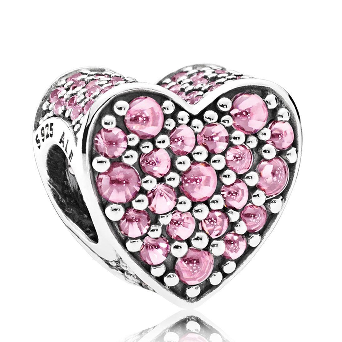 Pandora pink dazzling heart pink cz charm abalorios para pandoras
