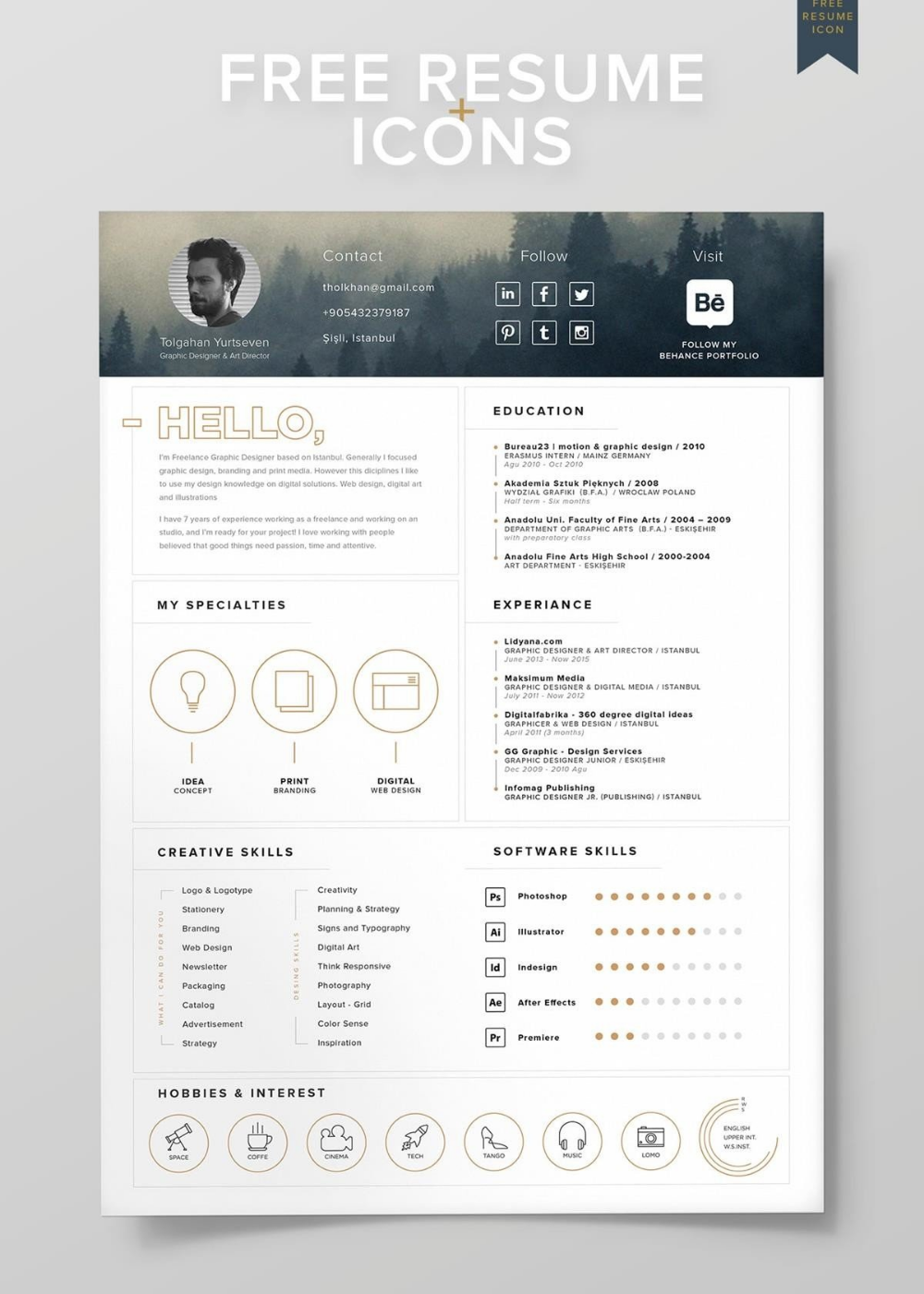 Visual Resume Cv Templates 15 Layouts To Download Free Included Resume Design Free Resume Design Template Graphic Design Resume