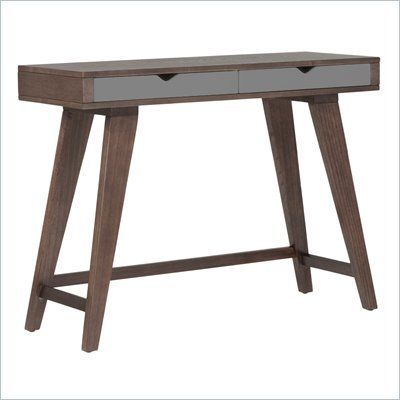 Eurostyle Daniel Console Table in Walnut - This is a brilliant office desk. It has walnut veneer, three gray drawers and wood base. This rectangular surface offer adequate workspace and unique wood legs enhances the desk's modern look.