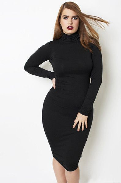 "Rebdolls ""One More Time"" Long Sleeve Turtleneck Midi Dress - Final Sale Clearance"