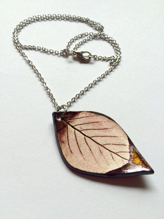 Medium Ceramic Bronze Leaf Pendant by AlainaSheenDesigns on Etsy