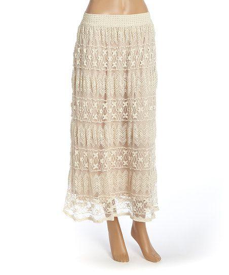Meetu Magic Ivory Lace Layered Maxi Skirt | zulily
