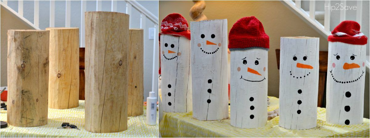 DIY Painted Santa and Snowman Logs is part of Diy snowman decorations, Christmas centerpieces diy, Snowman decorations, Diy snowman, Christmas decor diy, Cute christmas decorations - Turn ordinary logs into cute Christmas decorations with this easy DIY painted Snowman and Santa tutorial!