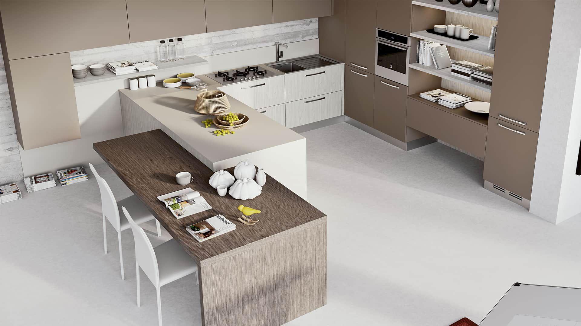 Cucina Moderna Ad Angolo Con Isola.Cucine Componibili Moderne Ad Angolo Con Penisola Cucina