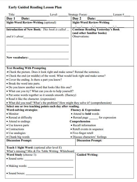 Guided Reading Levels D-I The Next Step Book Study Chapter 4 - sample guided reading lesson plan template
