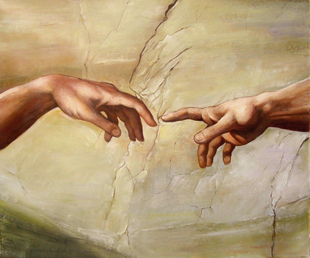 In Michelangelos Creation of Adam God points while Adam lets his