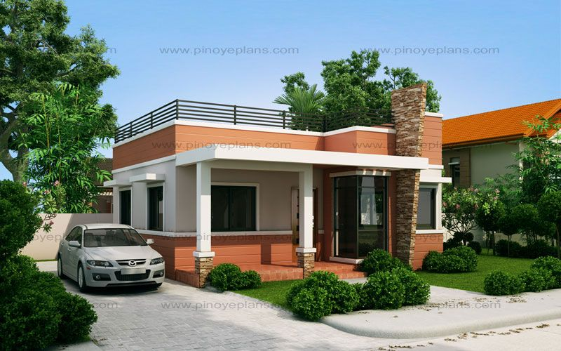 Rommell One Storey Modern With Roof Deck Pinoy Eplans One Storey House House With Balcony Small House Design